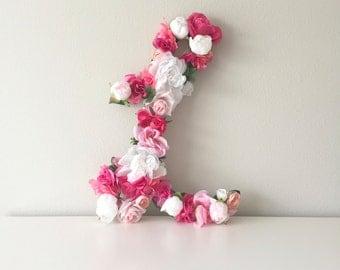 """Floral Letter 19"""" 24"""", Flower Letter, Cursive Letter, Nursery Letter Decor, Floral Nursery Decor, Baby Shower Letter, Wedding Monogram"""