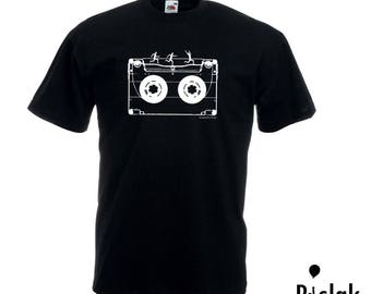 T-shirt with cassette tape and little men
