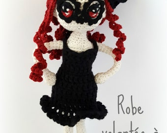 "Complete outfit with flared, accessory hair and dress shoes for doll crochet ""Manga"" and ""Neko doll"""