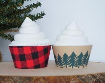 Lumberjack Cupcake Wrappers, Lumberjack Cupcake Sleeves, Lumberjack Cupcake Holders, Lumberjack Baby Shower, Cupcake Wrappers- SET OF 12
