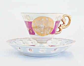 Pink Courting Couple Tea Cup and Saucer, Limoges Design Tea Cup and Saucer. Victorian Couple in love Pink and Gold with Cameo Couple