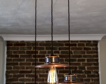 Hand Crafted Industrial Steampunk Copper Triple Pendant Ceiling Light