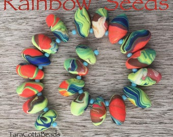 Polymer Clay Bead Set, Handmade Polymer Clay Beads, Colorful Teardrop Beads, Summer Beads, Artisan Polymer Clay Beads, Rainbow Beads, OOAK