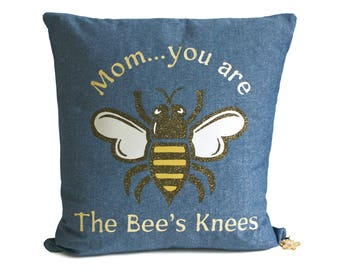 Mothers Day Denim Throw Pillow - Bees Knees - Personalized Message - Bumble Bee Pillow - Mom Gift Mother Gift - Gift For Mom - Brit and Bee