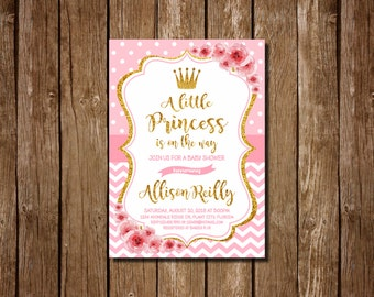 Princess baby shower invitation, Pink and Gold Princess Baby Shower Invitation, royal shower invitation, Girl Baby Shower,  Pink, Gold