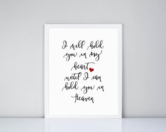 I will hold you in my heart until I can hold you in Heaven Printable // Loss Printable // Miscarriage // Gift