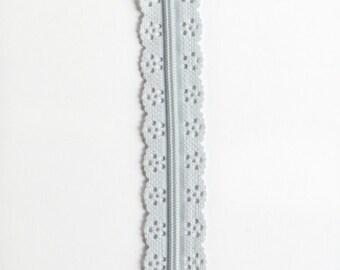 """Light Gray Lace Zipper - Grey Zipper - 8"""" Zippers - YKK Zippers - Bag Zippers - Purse Zipper - 8"""" Sewing Zipper - Bag Sewing - Zippers"""