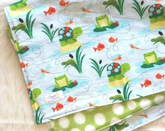Frog baby blanket, Fleece baby blanket, Boy baby blanket, Pond baby blanket, Flannel and fleece baby blanket