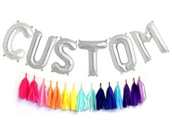 Silver Mylar CUSTOM Letter Balloons - Custom Balloons - Choose Your Letters - Oh Baby Balloons - Birthday  Decor - Baby Shower Decor