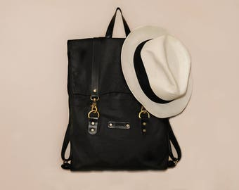Waxed Canvas Backpack   Black