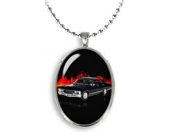 Supernatural Impala Oval Pendant Necklace 1967 Chevrolet Impala Fandom Jewelry Cosplay Fangirl Fanboy