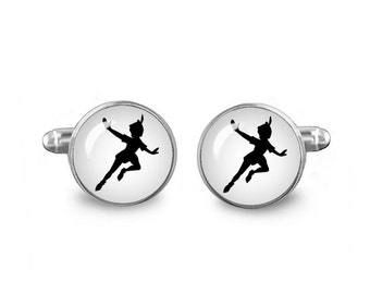 Peter Pan Cuff Links Neverland Cuff Links 16mm Cufflinks Gift for Men Groomsmen Novelty Cuff links Fandom Jewelry