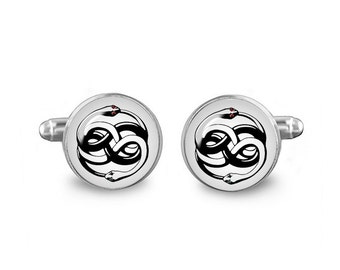 Neverending story Cuff Links Auryn Ouroboros Cuff Links 16mm Cufflinks Gift for Men Groomsmen Geeky Cuff links Fandom Jewelry