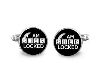 Sherlocked Cuff Links I am Sherlocked Cuff Links 16mm Cufflinks Gift for Men Groomsmen Fandom Jewelry