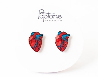 Anatomic Heart Earrings, human heart, valentine earrings, anatomical heart stud earrings