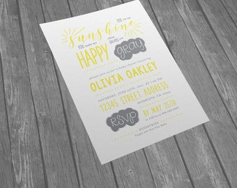 You are my sunshine baby shower invitation - Sunshine Baby Shower Invitation - Sunshine Shower Invitation - Gray or White (Digital File)