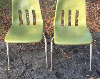 Vintage Virco Green chairs, plastic and chrome, , school chairs, homeschool chairs, retro 1950s chair