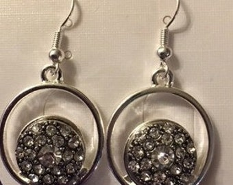 Trendy New Silver Interchangeable Snap Earrings - 12mm - With Two Rhinestone Snaps