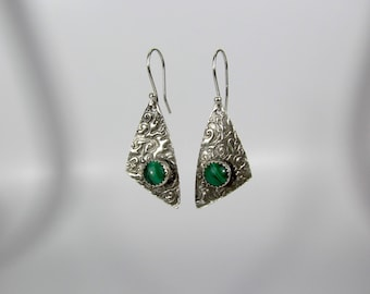 Item 4257 - Abstract Wavy Lightweight Fine and Sterling Silver Earrings with Genuine Stunning Malachite