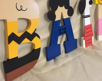 PEANUTS Characters / CHARLIE BROWN Hand-Painted 9 Inch Wooden Letters for Kids Room