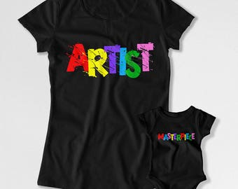 Mommy And Me Outfits Mother Daughter Shirts Mom And Son Matching T Shirts Family Gifts For Mom Artist And Masterpiece Bodysuit FAT-808-809
