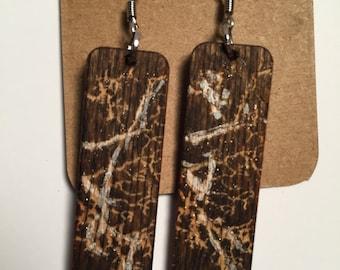 wood earrings with swarovski crystals