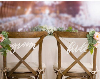 Bride and Groom Chair Signs - Chair Signs Wedding - Wedding Signs - Reception Signs - Seating Signs - Photo Props - Chair Signs