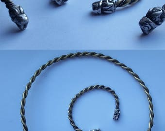 Viking wolf's heads torc and bracelet- hand made arm ring or neck ring handmade in silver and/or brass