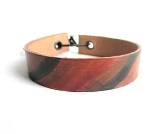 Leather bracelet, painted leather cuff bracelet, mens leather bracelet, abstract painted bracelet, italian jewelry