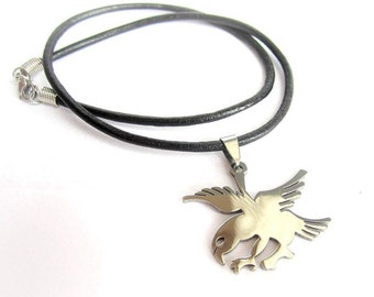 Mens eagle necklace, stainless steel eagle pendant, mens leather necklace, mens stainless steel pendant leather necklace, eagle pendant