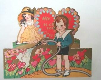 Vintage Valentines Card, Vintage Card, Die Cut Card, Vintage Valentines Day, Vintage Valentines Decor, Vintage Gift, 1930s, Be My Valentine
