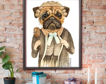 "Pug Dog Watercolour ""Judge Pug"" painting Dictionary Art Print or Poster Signed, original work, 8 x 10 and 12 x 16 inch"