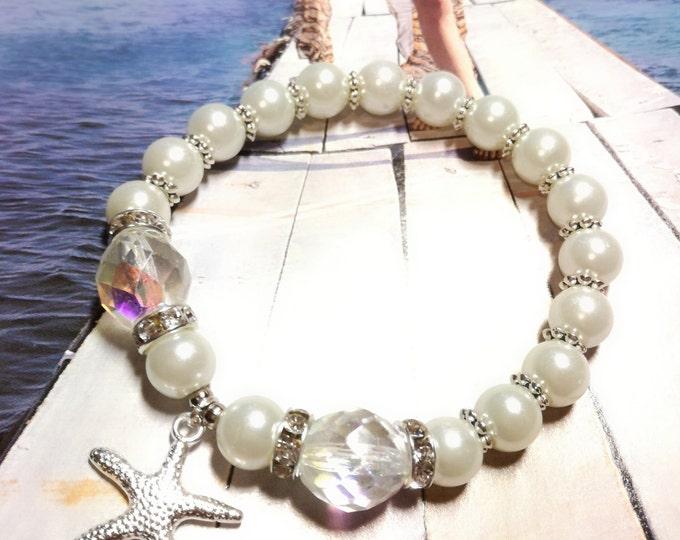 Starfish bracelet,Beach Wedding jewelry,Bridal jewelry, Wedding bracelet,white bracelet