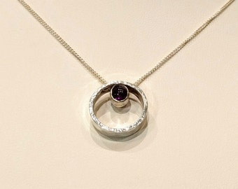 Modern circle necklace, amethyst necklace, circle necklace, sterling silver necklace, amethyst pendant, modern jewelry, purple necklace