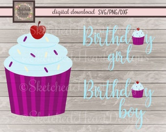 Birthday Girl or Boy SVG pack, Cupcake svg, DXF PNG, Digital cutting file, Birthday clipart, Instant download, Cupcake digital art, sprinkle