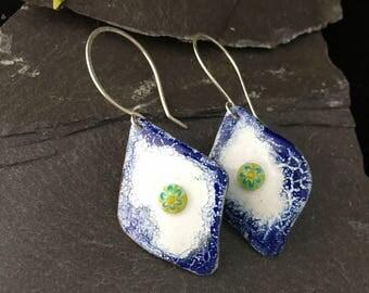 Kiln fired vitreous enamel earrings / rhomboid dangle earrings /  blue white green/ sterling silver hooks / hand crafted / copper earrings /