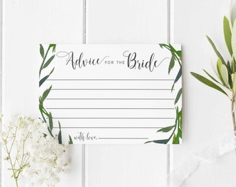 Advice for the Bride Printable, Digital Printable Advice Card, Bridal Shower Advice, Greenery, Print at Home Advice for the Bride
