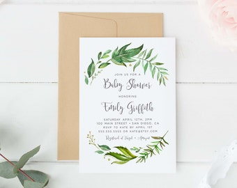 Greenery baby Shower invitation,  Baby shower invitation, Gender neutral baby shower, garden baby shower, Digital baby shower invite boy