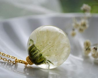 Magical wish sphere - Wish pendant dandelion - Real Whole Dandelion pendant - gift for mother
