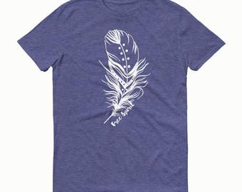 Feather T-shirt, Free Spirit Tee, Feather Tee, Boho Chic, Gypsy Style Tee
