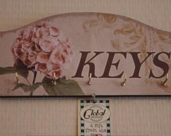 Key Rack Shabby Chic Vintage Hydrangea Key Hooks  Key Rack Vintage Style 4 Hooks SG1825