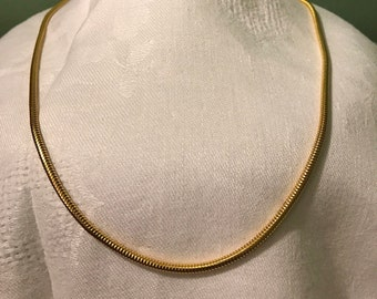 Goldtone Snake Rope necklace, 30""