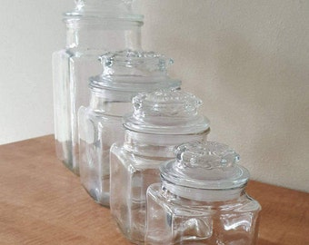 Apothecary Jar Set of 4 Anchor Hocking Glass Canister Set Storage Jars With Seals