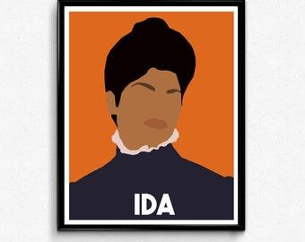 Ida B Wells Portrait- Feminist Icon, Minimalist Portrait, Wall Art