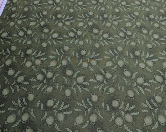 Heritage Hollow-Green on Green Cotton Fabric from Henry Glass