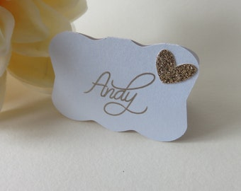 Rose Gold Place Cards, Glitter Place Cards, Personalized Place Cards, Wedding Place Cards, Bridal Shower Place Cards, Rose Gold Glitter