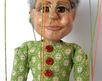 OOAK Marionette - Gladys - Handmade Clay Puppet With Strings by Ally Langton