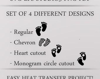 Baby Feet Vector Set. Baby footprint svg, firstborn design, baby boy baby girl feet. Baby footprint Chevron print. Toddler design, DIY baby