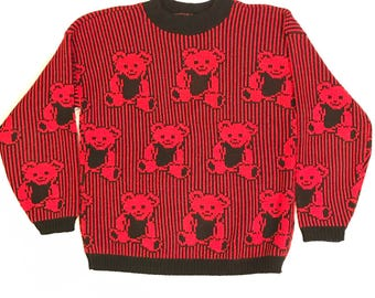 80s 90s Retro Vintage Women's Red And Black Adele Knit Sweater With Teddy Bears