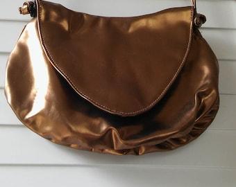 80's gold vinyl evening shoulder bag